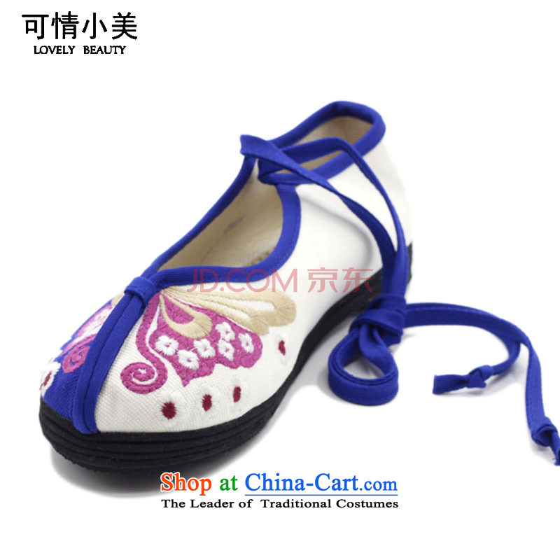 Is small and the ethnic pure cotton embroidery thousands of women's shoes bottom of Old BeijingZCA1008 mesh upperwhite34