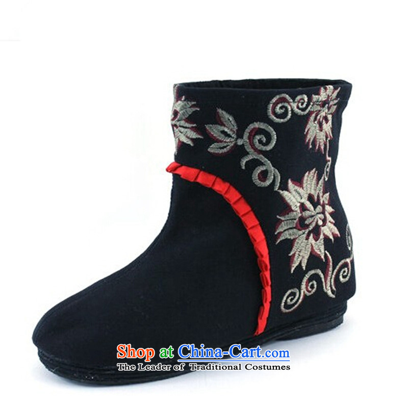 New Women's boots embroidered shoes trend then boots embroidered shoes of Old Beijing mesh upper women shoes black 37