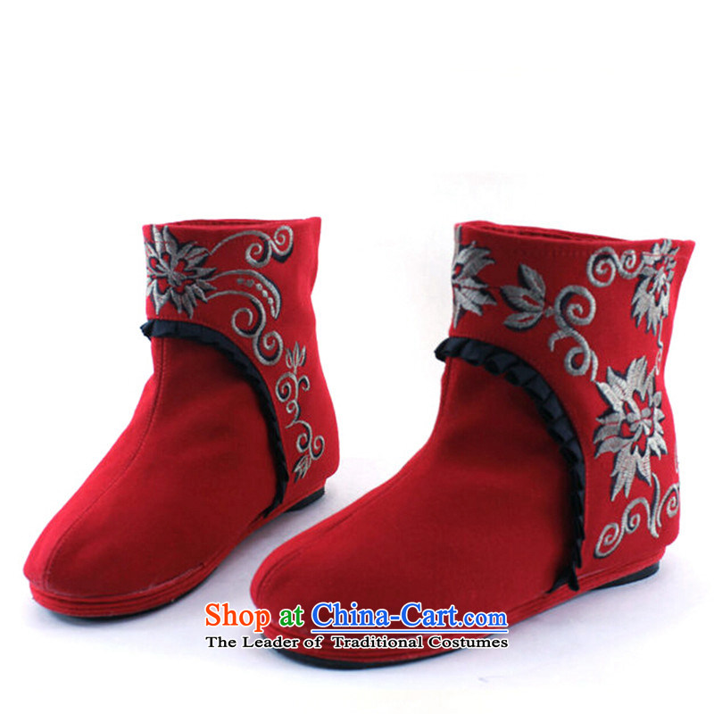 New Women's boots embroidered shoes trend then boots embroidered shoes of Old Beijing mesh upper black women shoes37, Chin world shopping on the Internet has been pressed.
