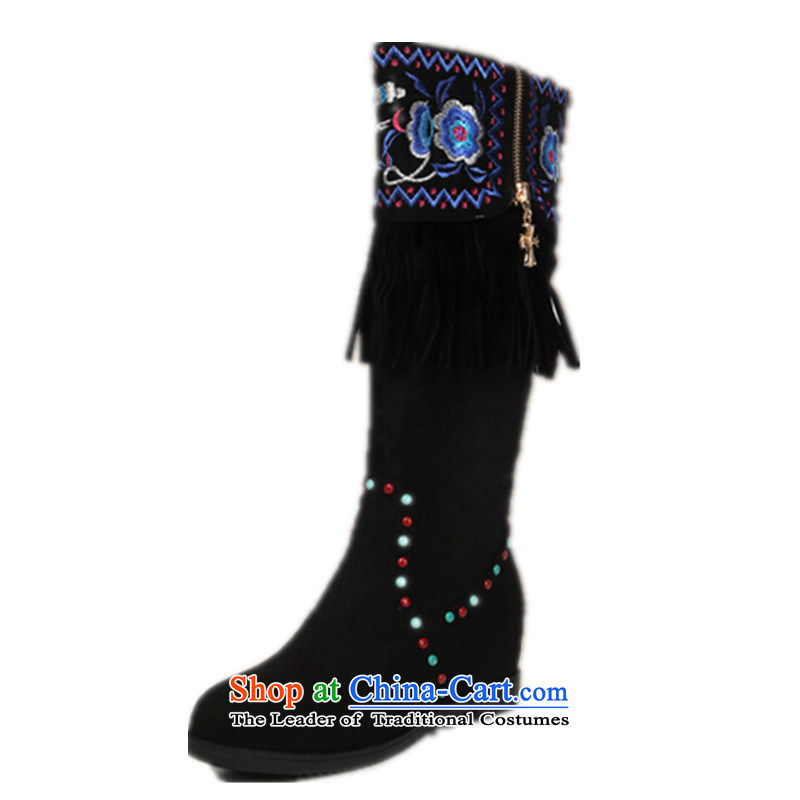 The autumn and winter new long boots children round head high and boots rivets edging boots old Beijing mesh upper ethnic embroidery boots black cotton plus聽34