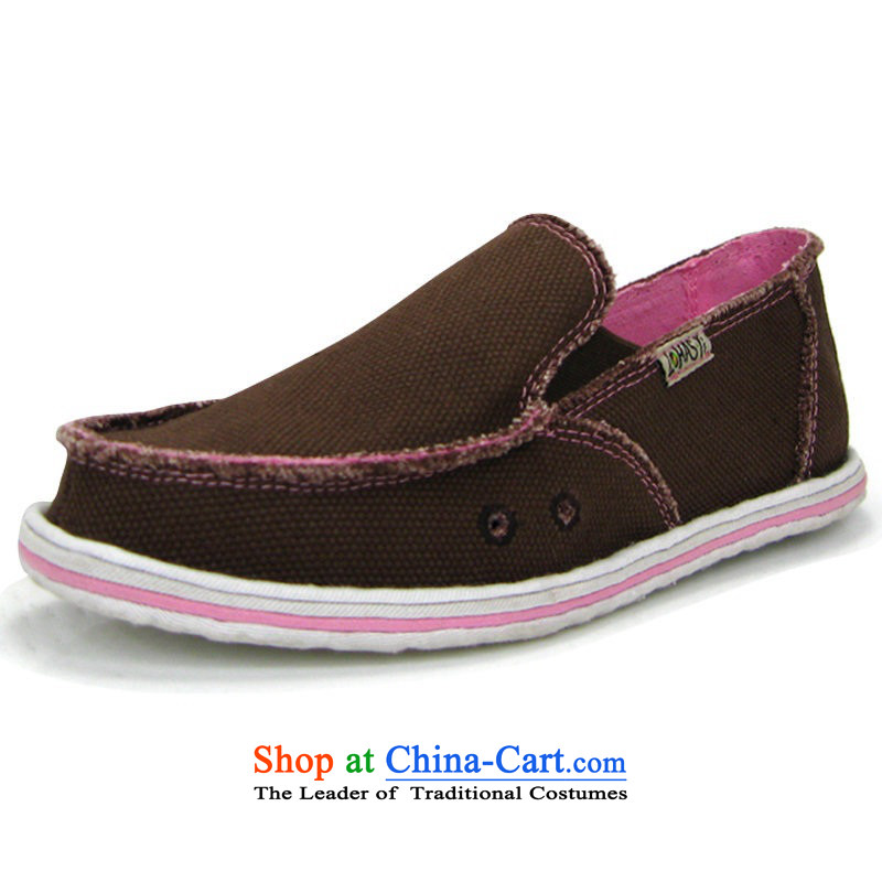 America and the girl-pure color moms home mesh upper with hand-in-system backplane shoes thousands of single shoe spring and summer new leisure shoes of Old Beijing mesh upper female big particles brown36