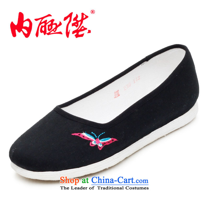Inline l women shoes mesh upper hand bottom-thousand-layer encryption embroidered mixed sea embroidered butterfly_flower girl shoe old Beijing聽8207A mesh upper Black Butterfly聽35