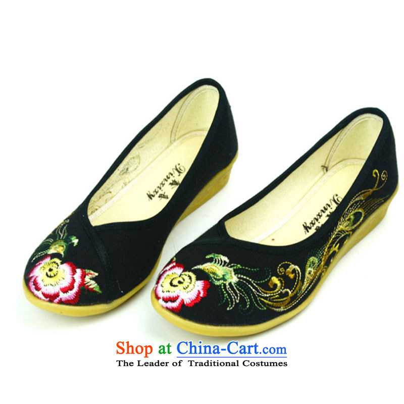 Embroidered shoes of ethnic women 2015 new mesh upper Phoenix embroidery small slope with traditional embroidery single shoe Phoenix Dance Shoe Y128YZ black 36