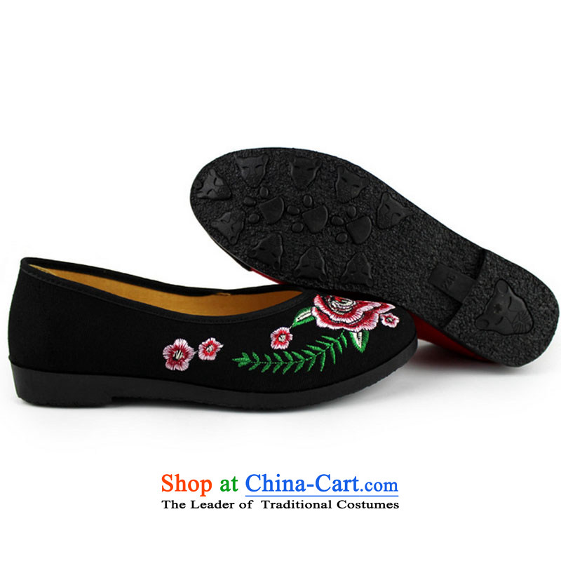 Embroidered shoes of ethnic mesh upper new 2015 National embroidered shoes single shoe low with soft, non-slip stitching women shoes . 39 Y122YZ black