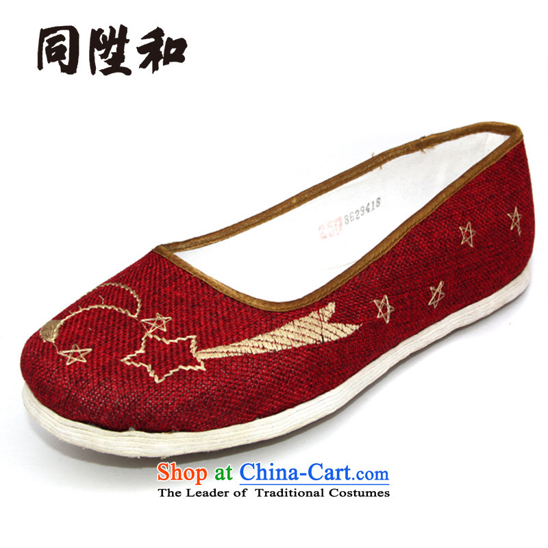 The L and the old Beijing thousands of Ms. bottom mesh upper Red Moon spent manually women shoes Red34