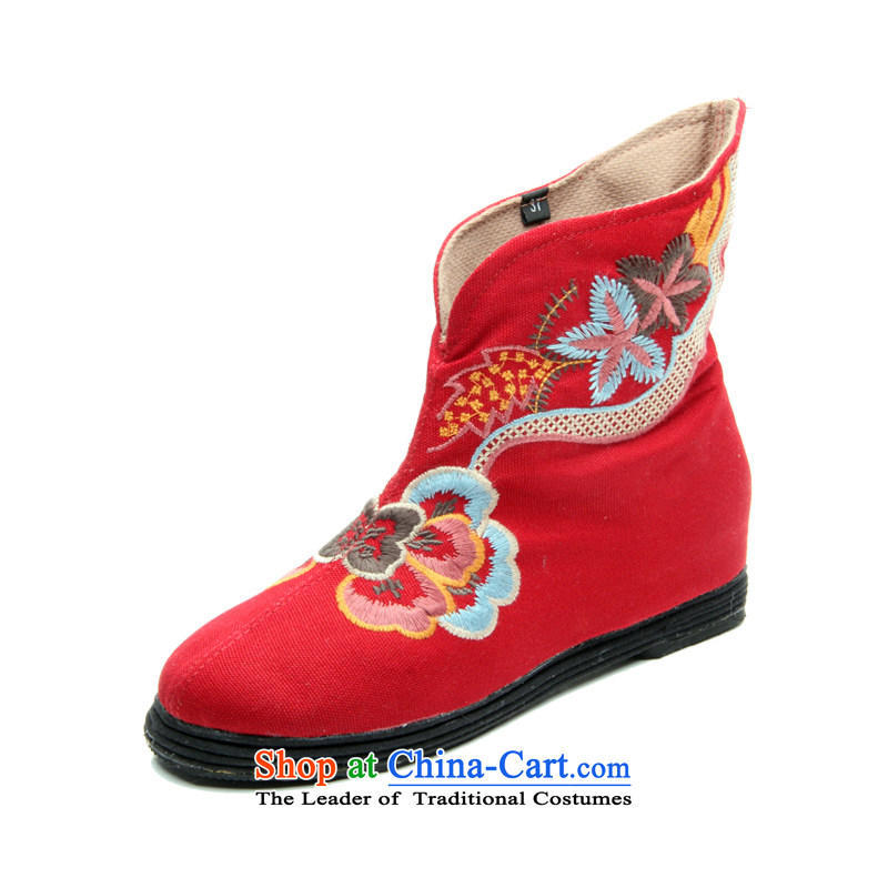 Performing arts companies autumn and winter) flat bottom click shoes increased female national wind old Beijing embroidered shoes mother shoe BREATHABLE BOOTIE L-19 mesh upper Red 36