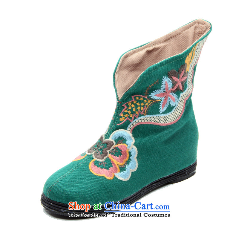 Performing arts companies autumn and winter) flat bottom click shoes increased female national wind old Beijing embroidered shoes mother shoe breathable mesh upper L-19 bootie Green 38