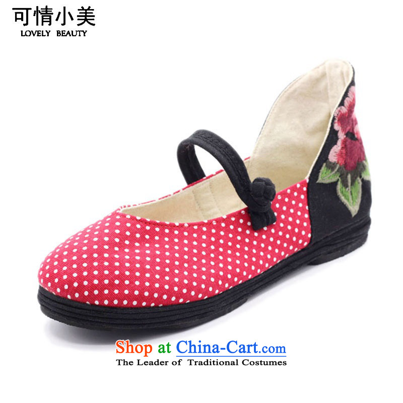 Is small and the old Beijing national turmoil point embroidery mesh upper slotted detained women shoes ZCA010 Red 34