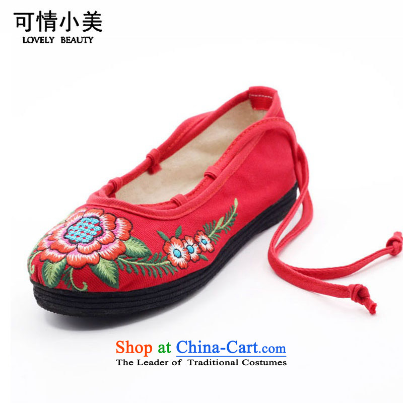 Is small and the old Beijing mesh upper ethnic pure cotton embroidered shoes ZCA13 womens single-5 Red 38