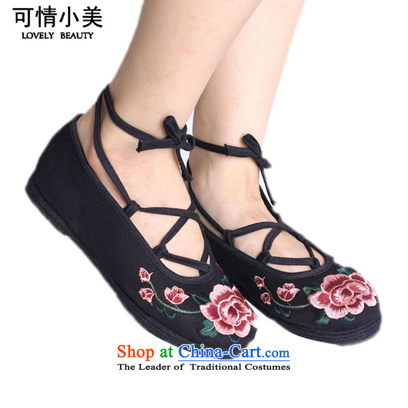 Is small and the old Beijing mesh upper ethnic Mudan embroidery Pure Cotton Women's ShoeZCA0312black35