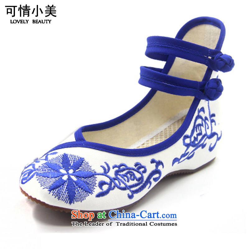 Is small and the ethnic increased within the beef tendon bottom embroidered shoes ZCA131 Blue 34
