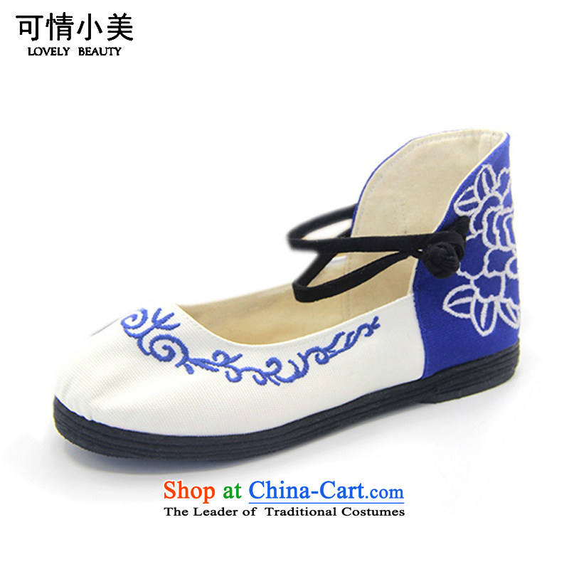 Is small and the ethnic pure cotton hasp thousands ground embroidered shoes ZCA1320 cyan 39