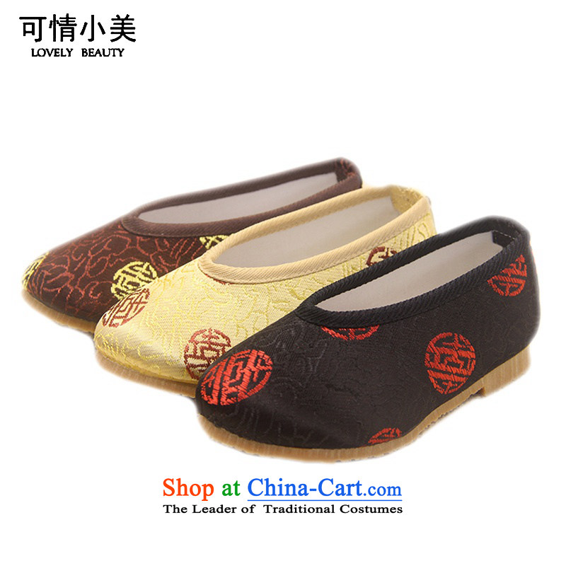 Is small and the old Beijing mesh upper ethnic boy embroidered shoes ZCA, L3 Light Yellow 16