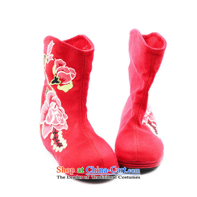 Is small and the old Beijing mesh upper ethnic Mudan increased within embroidery female boots ZCA, H02 red 39, is small-mi (LOVELY BEAUTY , , , shopping on the Internet