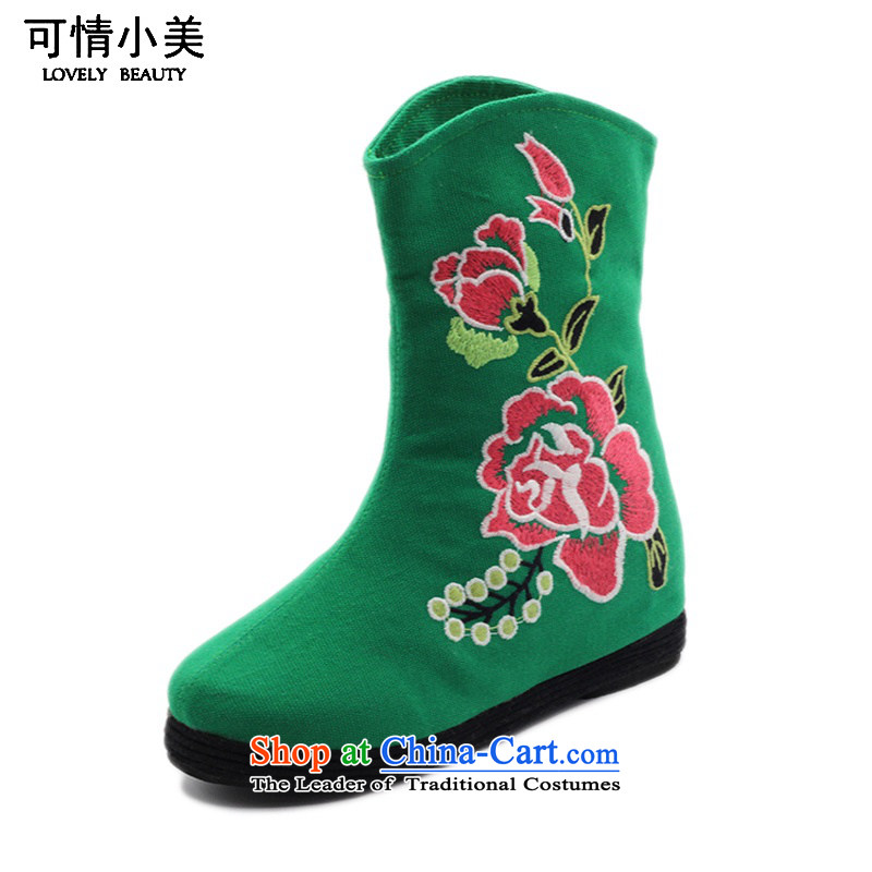 Is small and the old Beijing mesh upper ethnic Mudan increased within embroidery female boots ZCA, H02 Green 37