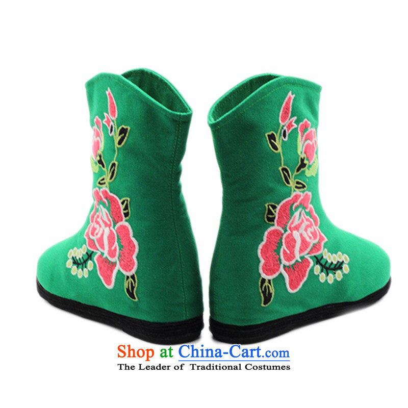 Is small and the old Beijing mesh upper ethnic Mudan increased within embroidery female boots ZCA, H02 Green 37, is small-mi (LOVELY BEAUTY , , , shopping on the Internet