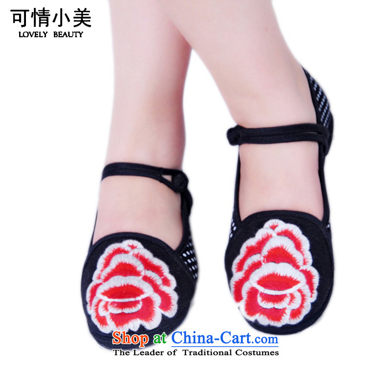 Is small and the old Beijing Peony embroidered word mesh upper clip bottom of thousands of women's shoesZCA1315black39