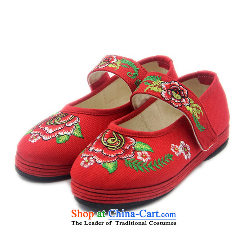 Is small and the old Beijing Children embroidered shoes cotton fabric of ethnic Children Dance Shoe ZCA, T-10 Red 17