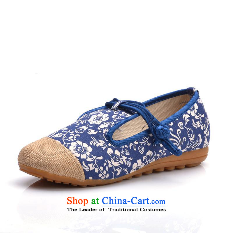 In the summer and autumn new women's shoe genuine old Beijing mesh upper ethnic embroidered shoes flat bottom slope with shoes mother Blue 38