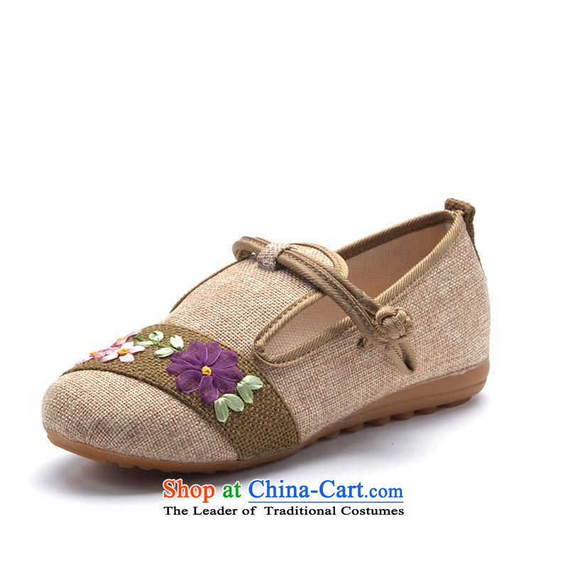 In spring and summer 16 years old Beijing New mesh upper for women of ethnic embroidered shoes with fine linen flat bottom single shoe beige 36