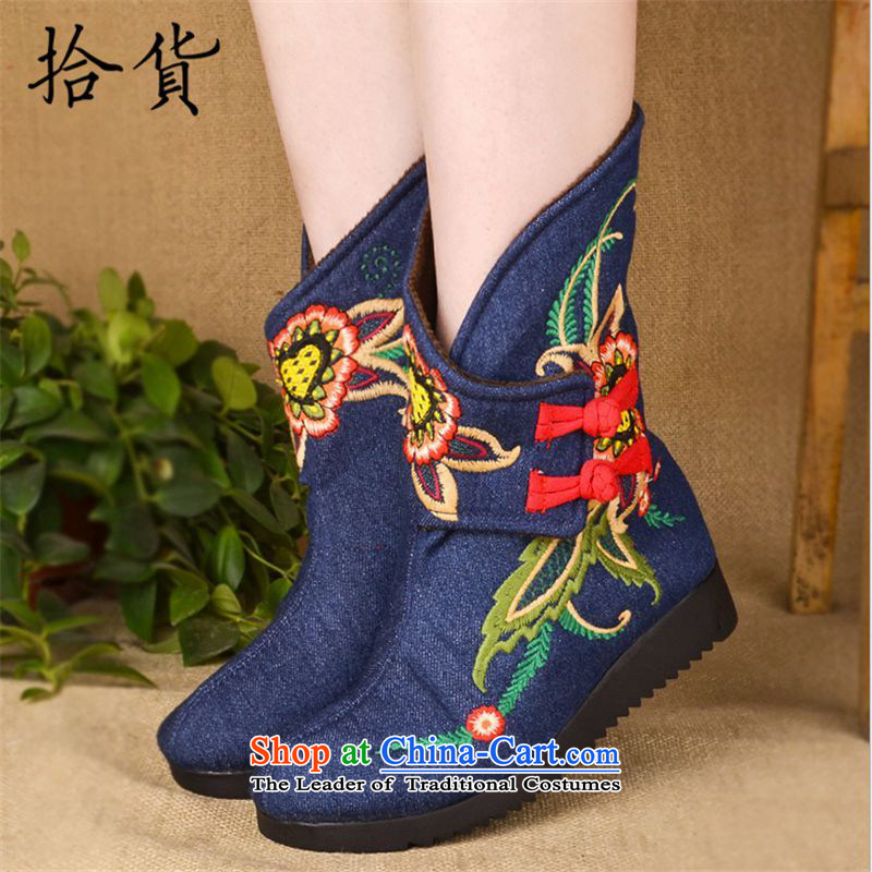 2015 Winter Olympics_ the old Beijing mesh upper for embroidery cotton shoe ethnic Ms. wind retro-thick boots warm Dance Shoe girl detained in boot disk boots