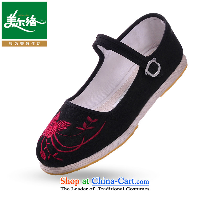 The United States, contact the bottom layer mesh upper with thousands of manually old Beijing fabric wicking massage Kiyomasa Lotus (band) loofah inner bottom black shoes mother 37
