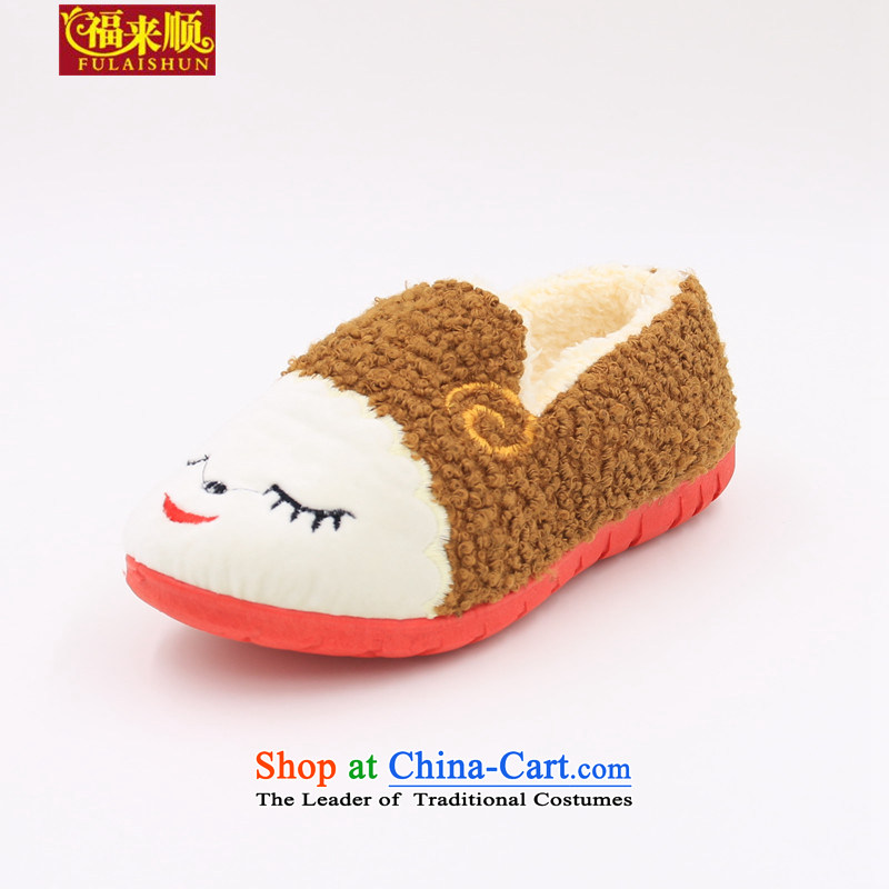 The old Beijing cotton shoes indoor home cotton shoes cute little sheep, coffee-colored 37