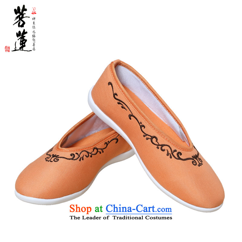 The pursuit of nostalgia for the flax shoe Lin China wind-pong shoes women hand painted art low state embroidered shoes spring, summer, autumn, Orange red so-聽39