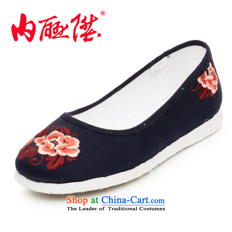 Inline l women shoes mesh upper hand bottom-thousand-layer encryption embroidered peony flowers embroidered shoes, sea is smart casual shoes 8207A old Beijing peony flowers black peony flowers 41 XL