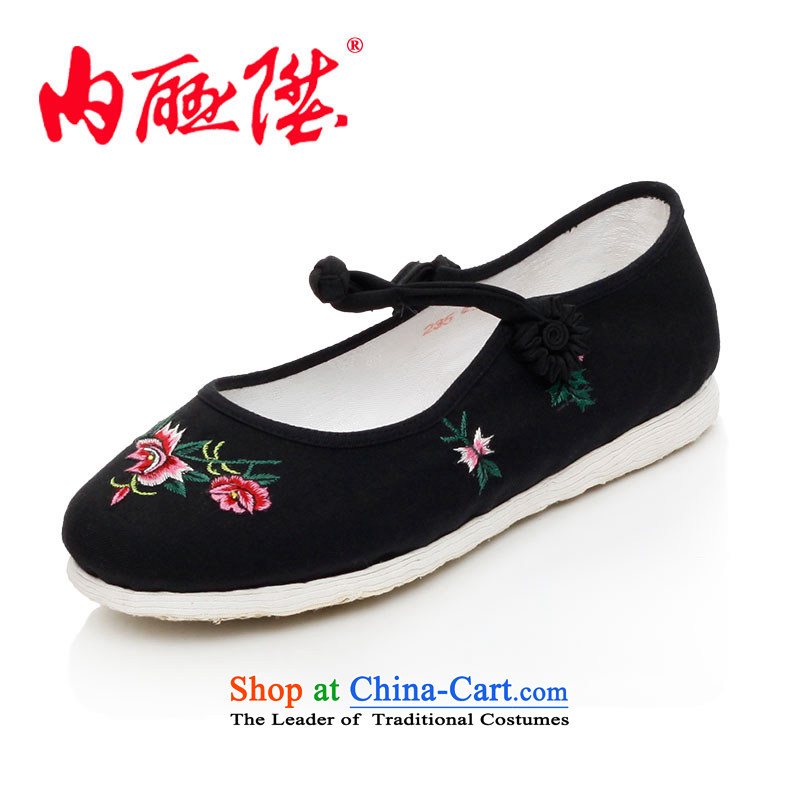Inline l women shoes mesh upper hand thousands of bottom-wool embroidered encryption handshake female mesh upper old Beijing embroidered shoes聽8289A聽black聽37