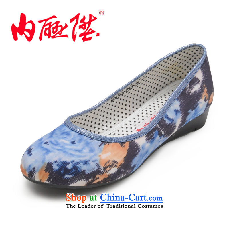Inline l women shoes mesh upper for female sea shoes, casual fashion of Old Beijing 6566C mesh upper Blue 40