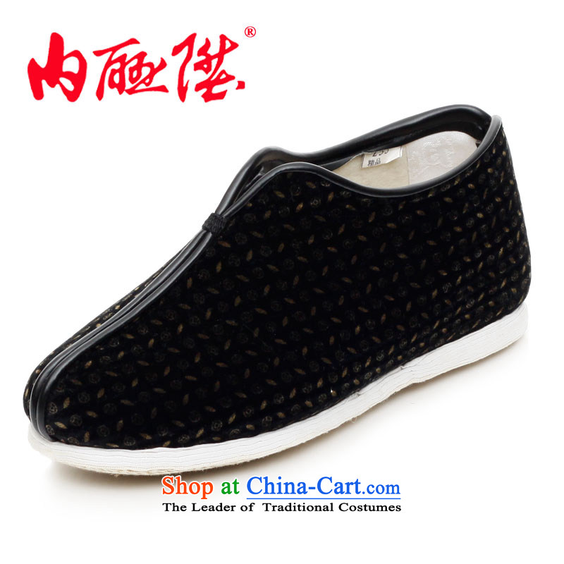 The l female cotton shoes bottom thousands of women on chemical fiber encryption cotton shoes and stylish lounge old Beijing 8243A mesh upper black 37