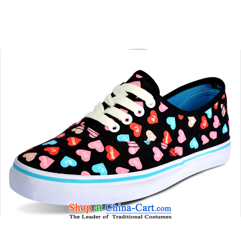 Good rain season fashion color girl-Low colorful love canvas shoes as figure EURO 37 - equal to a standard code codes 38