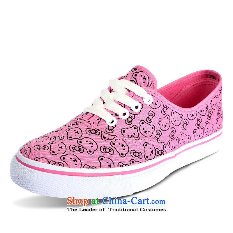 Good rain season when the timeout of Cubs cartoon female hand-painted a light pink color with a low canvas shoes as the OSCE Code 37 - equivalent to 38 standard code
