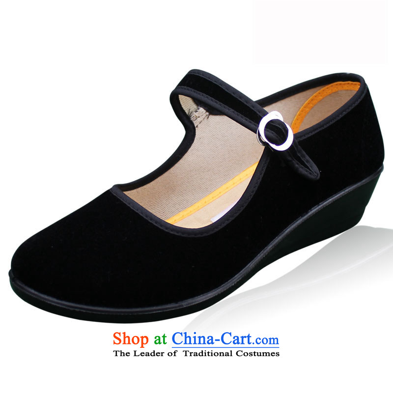 Welcomes the definition of Old Beijing mesh upper women shoes mother shoe to a field with shallow slope Heels click port shoes of Ethnic Dance Shoe Hotel work shoes 713 Black 37