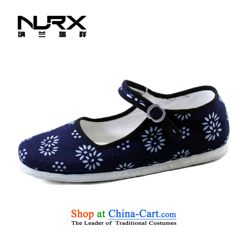 Naslin Ruixiang Old Beijing mesh upper hand bottom layer mesh upper with thousands of women and a field with a single shoe traditional mesh upper ethnic shoes in the number of older women mesh upper wellness shoes blue 38 too big a code is equivalent to 3