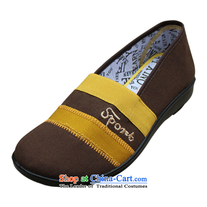 Yan Qing Beijing XQ/ mesh upper with stylish and cozy single shoe flat bottom shoe breathable outdoor elastic port016Brown39 mother shoe
