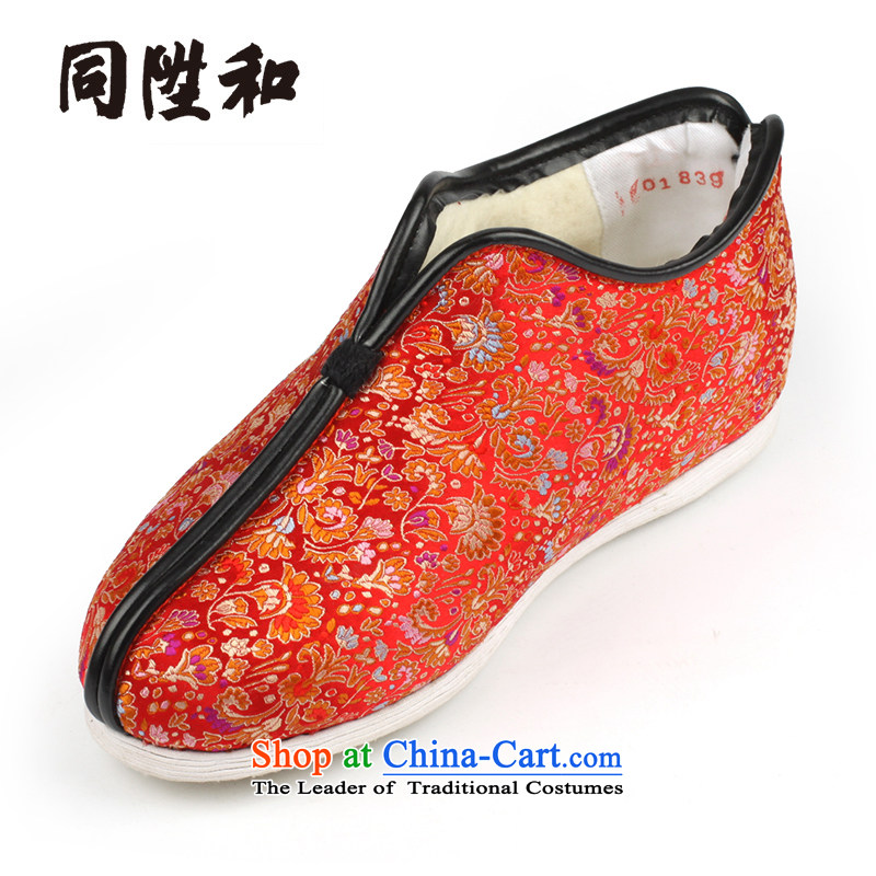 The L and the old Beijing mesh upper winterization warm manually bottom thousands of cotton shoes brocade coverlets female cotton shoes red chicken Koon-on cotton Red 35