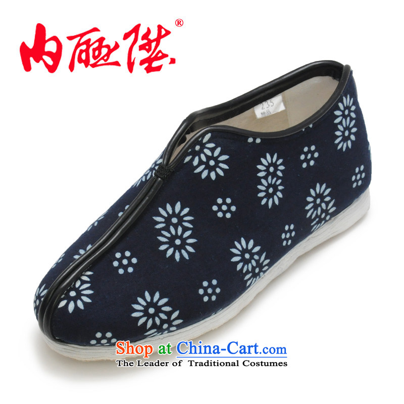 Inline l female cotton shoes mesh upper hand-thousand-layer bottom batik autumn and winter female cotton shoes, stylish and cozy old Beijing聽8255A mesh upper聽blue white flowers聽39