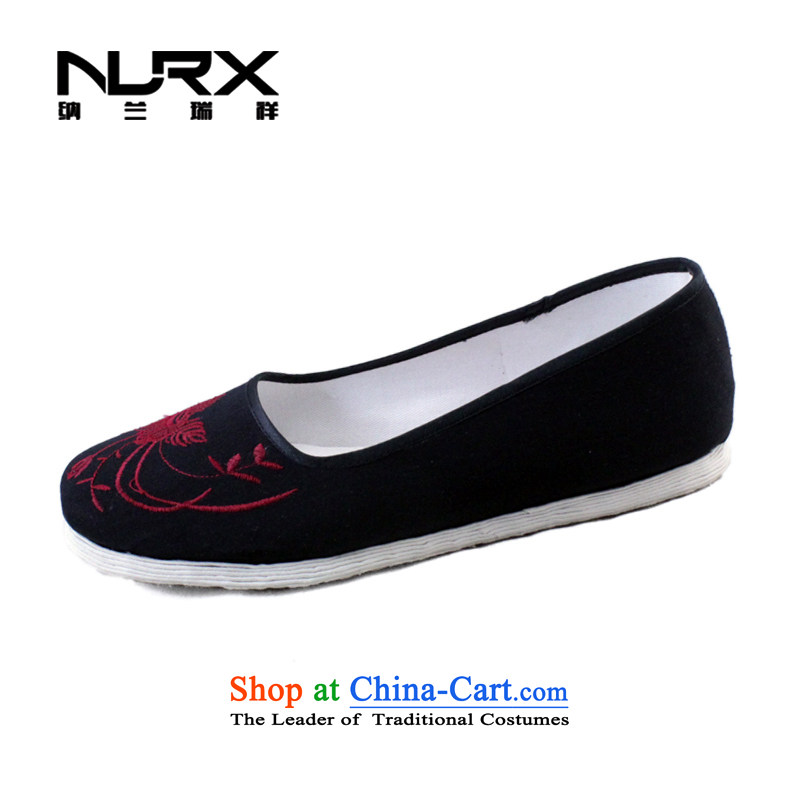 Naslin Ruixiang Old Beijing mesh upper spring and autumn single shoe manually female embroidered shoes bottom of thousands of women shoes retro mesh upper ethnic shoes mesh upper wellness mesh upper women traditional hanging over 34 large one code is equi