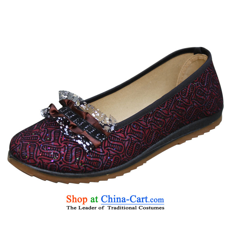 Yan Qing Chun Old Beijing mesh upper women shoes mother shoe comfortable and relaxing walking shoes . - 372 Ms. Red 40