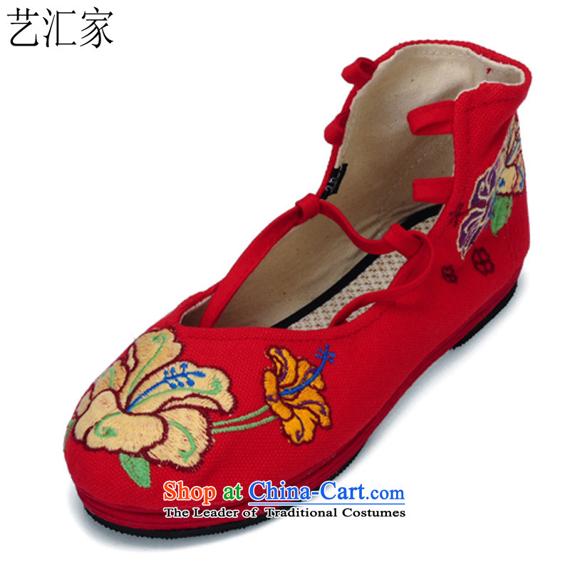 Performing Arts of thousands of ground spring and autumn the new nation mesh upper air-embroidered shoes classic wild women shoes HZ-5 Red 36