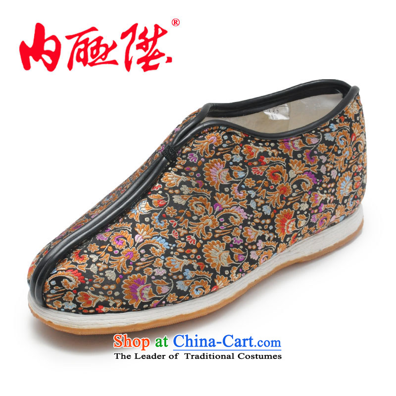 Inline l female cotton shoes mesh upper hand-thousand-layer encryption for cotton tapestries backplane autumn and winter female cotton shoes is smart casual old Beijing8235G mesh upperblack36