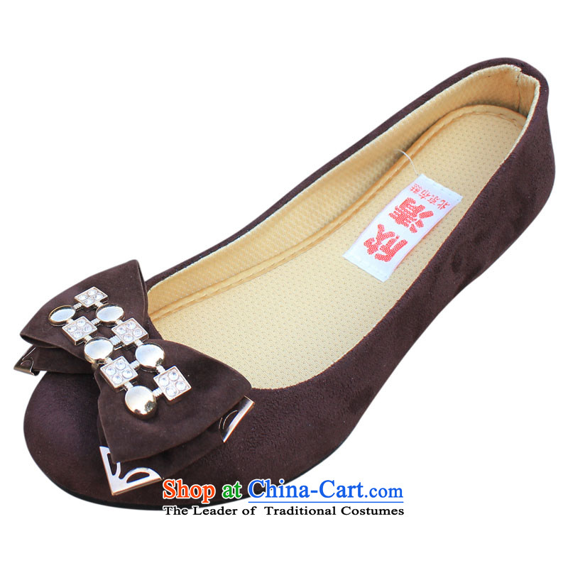 Welcomes the clear spring and autumn XQ/ old Beijing ultra-lightweight mesh upper with sweet bow tie womens single shoes, casual and comfortable shoesC-a02Brown40