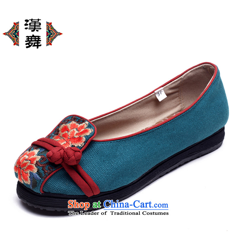 Hon-dance genuine old Beijing mesh upper for women of ethnic light classic one port pure cotton shoes thousands of base flat with comfortable light port embroidered shoes C.O.D. topology sticks Blue 36