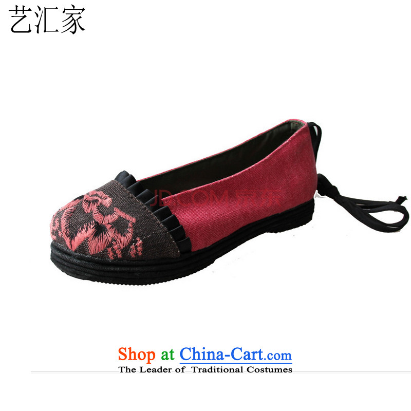 Performing Arts Old Beijing mesh upper ethnic embroidered shoes bottom of thousands of women shoes single shoe mesh upper resolution S-10_2 pink 37