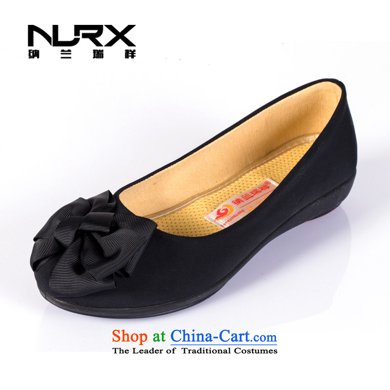 Naslin Ruixiang Old Beijing women's shoes autumn mesh upper with a flat bottom shoe hotel work shoes with soft, mother shoe black mesh upper round head light port casual women shoes black35