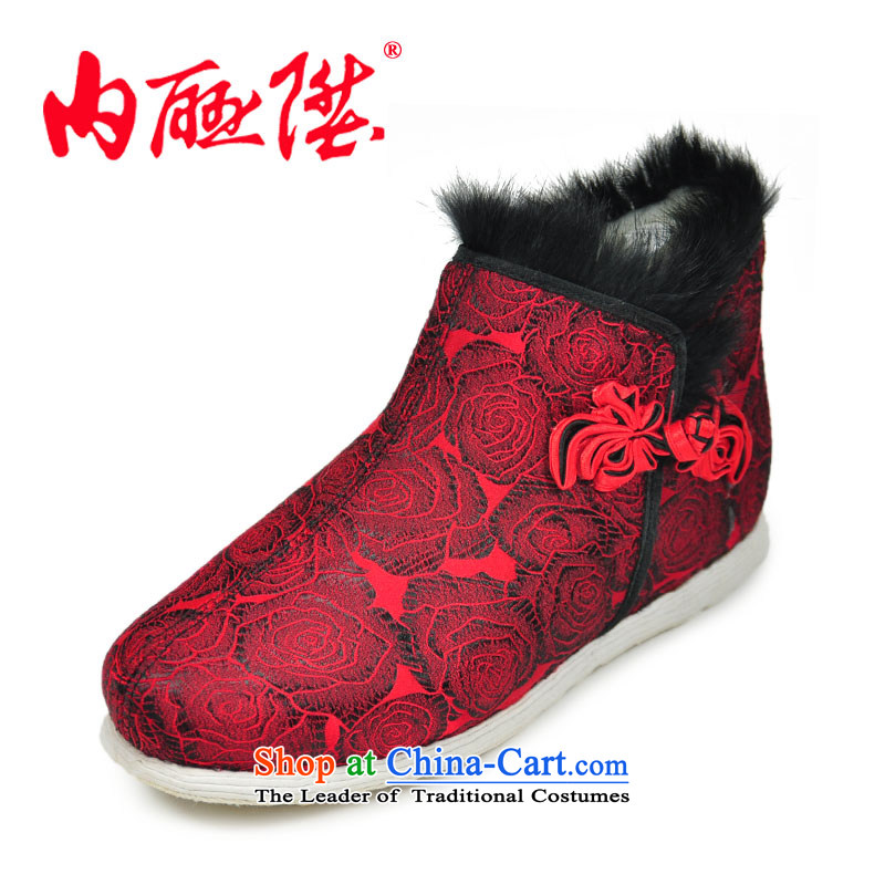 Inline l women shoes cotton shoes hand-thousand-layer encryption backplane tapestries pull locking cotton shoes old Beijing 8674A mesh upper safflower37
