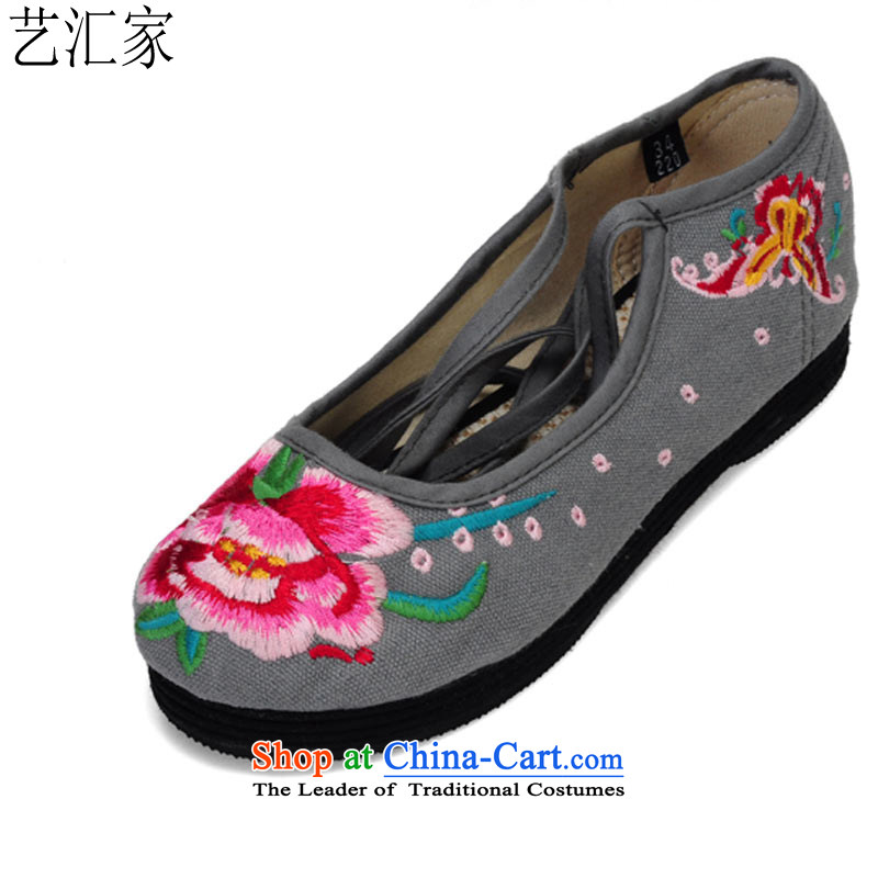 Performing Arts of thousands of bottom embroidered shoes of ethnic mesh upper single women shoesHZ-9gray38