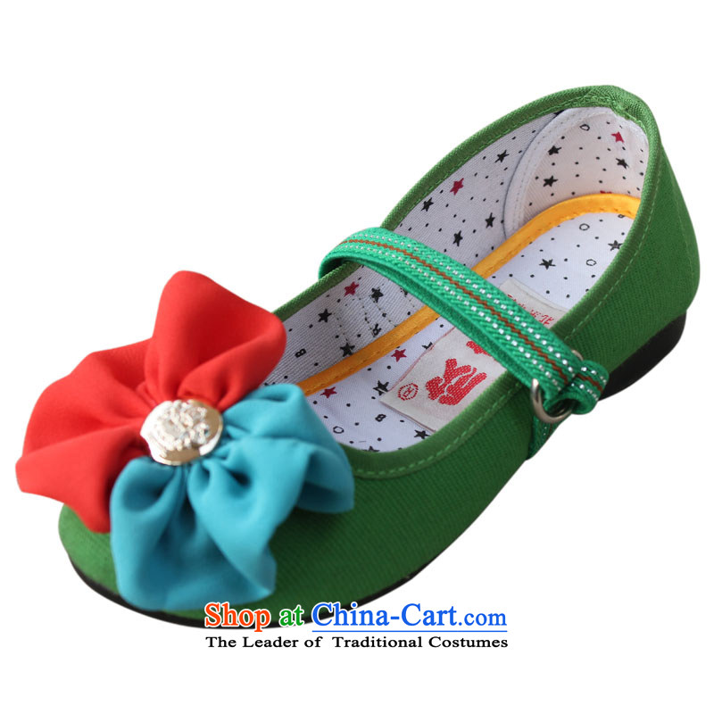 Welcoming the Beijing mesh upper little girl-mesh upper elementary school students single shoe flat bottom sweet flowers Children shoes聽t001聽green聽30 yards _19.5cm